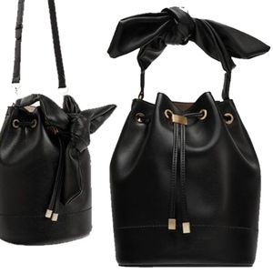Zara Basic Collection Black Bucket Bag with Knot